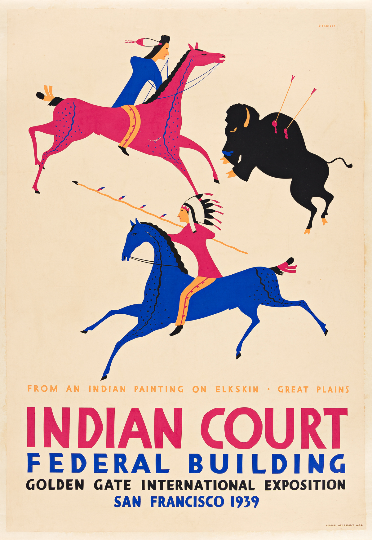 LOUIS B. SIEGRIEST (1899-1989) Indian Court Federal Building / From An Indian Painting On Elk Skin.
