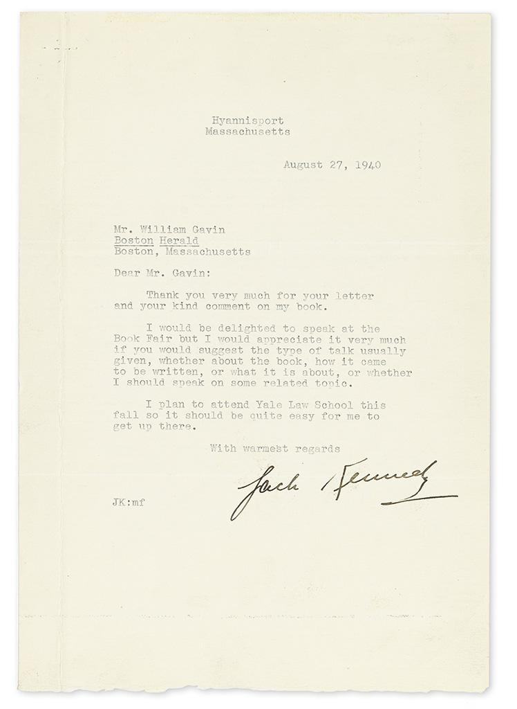 KENNEDY, JOHN F. Typed Letter Signed, Jack Kennedy, to Boston Herald Editor William Gavin,