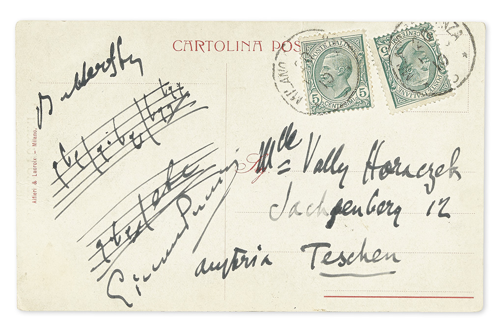 PUCCINI, GIACOMO. Autograph Musical Quotation Signed, four bars from his Madama Butterfly,