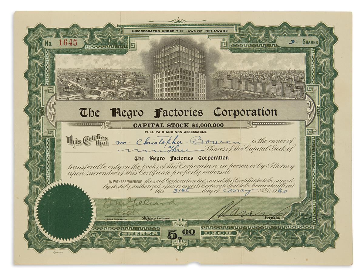 GARVEY-MARCUS-Partly-printed-Document-Signed-as-President-of