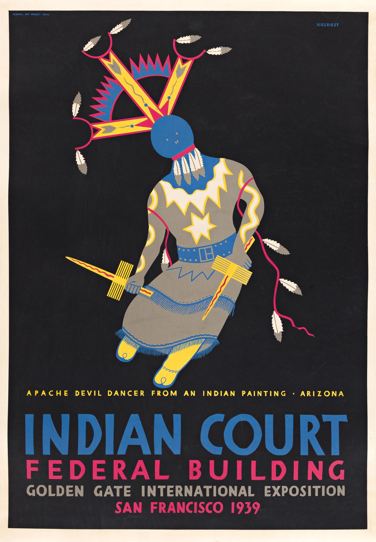 LOUIS B. SIEGRIEST (1899-1989) Indian Court Federal Building / Apache Devil Dancer.