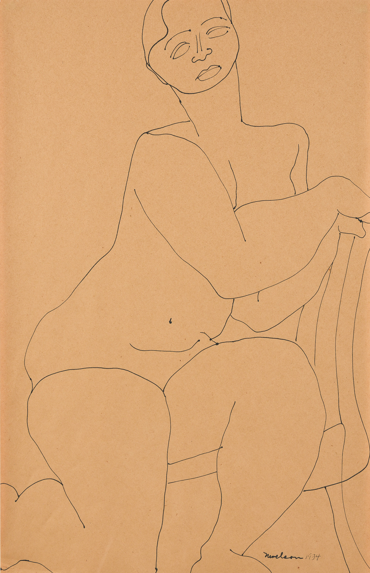 LOUISE NEVELSON Seated Nude.