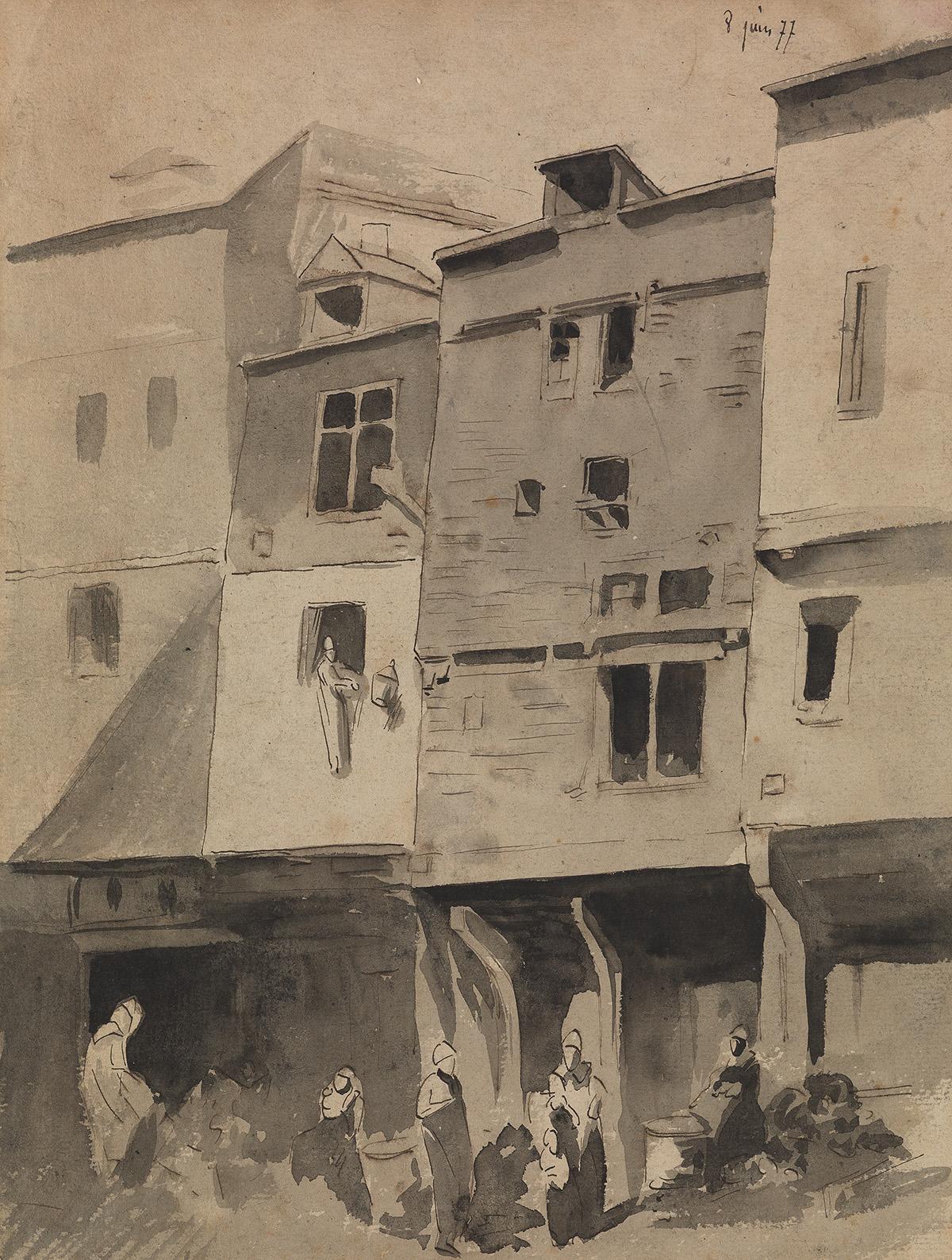 LOUIS-ADOLPHE-HERVIER-(Paris-1818-1879-Paris)-A-City-Scene-w