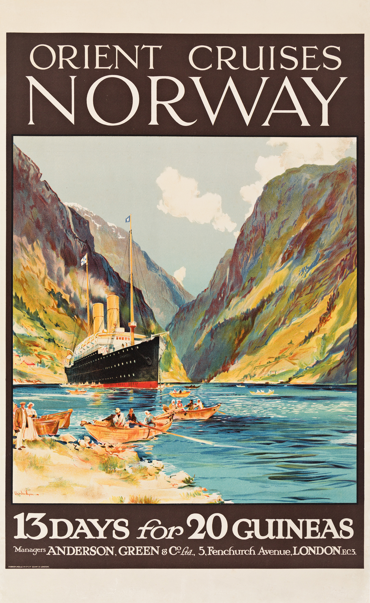 Charles Edward Dixon (1872-1934).  ORIENT LINE CRUISES NORWAY / 13 DAYS FOR 20 GUINEAS. Circa 1911.