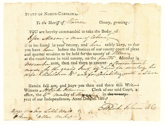 """(SLAVERY AND ABOLITION.) To the Sheriff of Warren County. A Warrant to Arrest """"""""Jesse Mason, (a man of Colour) for deserting his Wife &"""