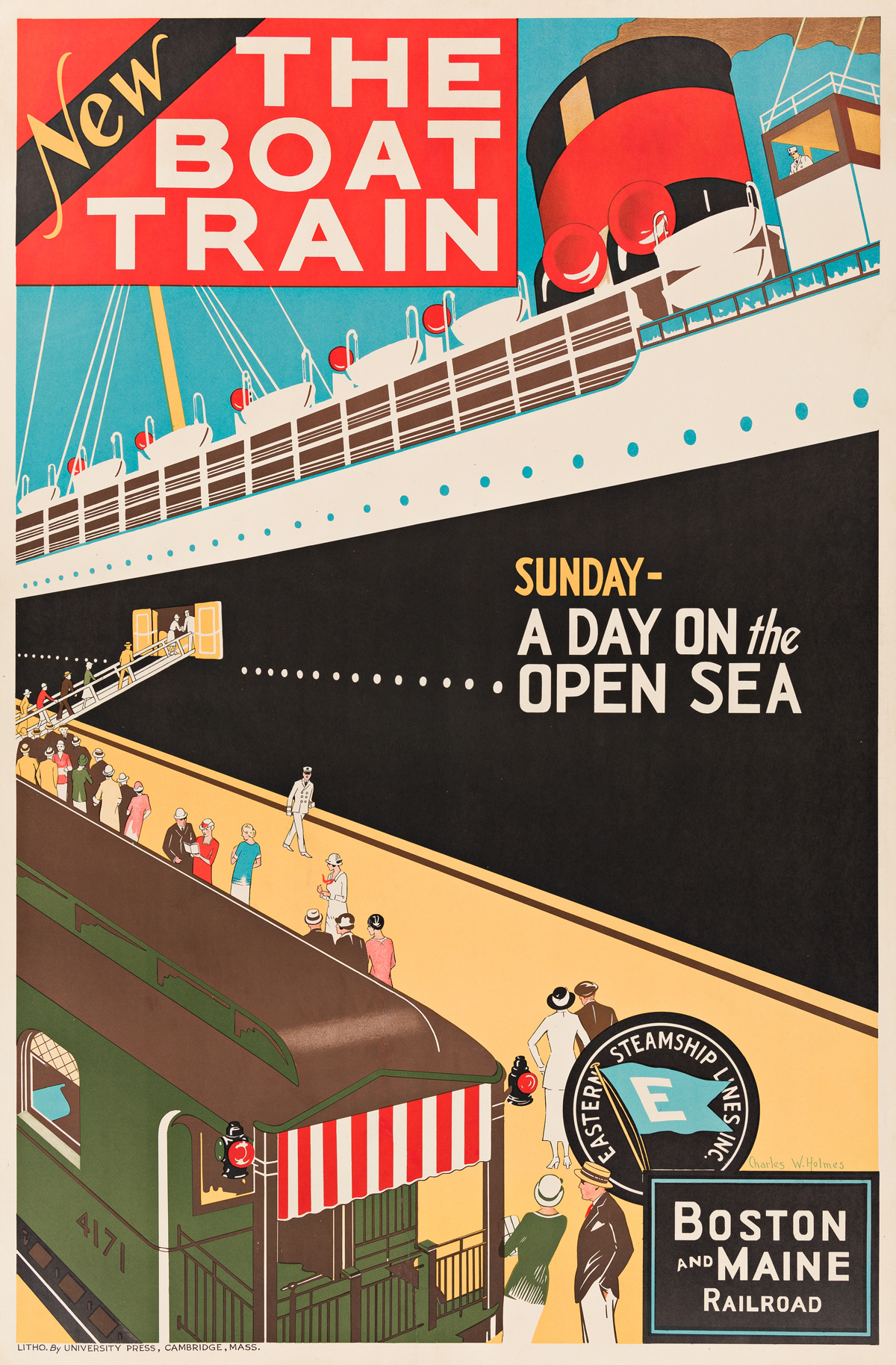 Charles W. Holmes (Dates Unknown).  THE BOAT TRAIN / BOSTON AND MAINE. Circa 1932.