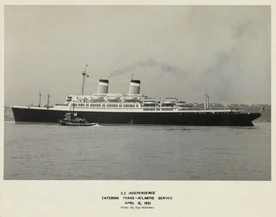 (AMERICAN EXPORT LINES.) Independence. Maiden Voyage. S.S. Independence. Mediterranean Cruise February 10, 1951