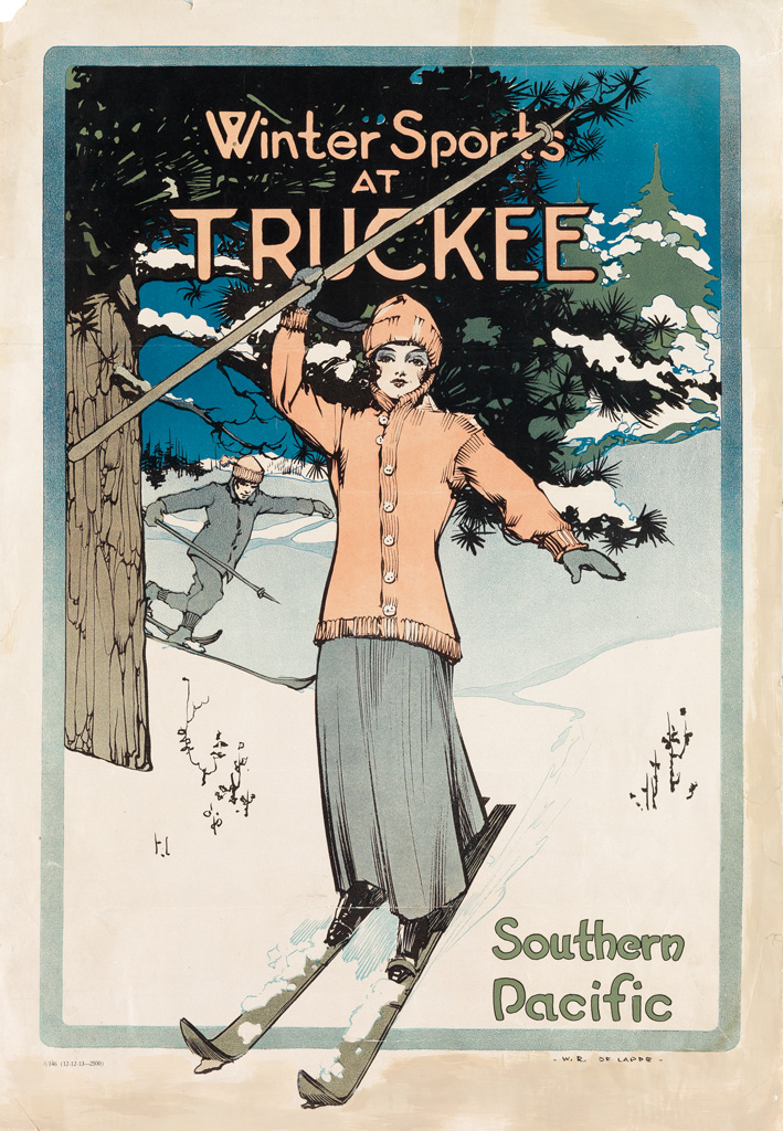 WESLEY RAYMOND DE LAPPE (1887-1952). SOUTHERN PACIFIC / WINTER SPORTS AT TRUCKEE. 1913. 22x15 inches, 58x40 cm.