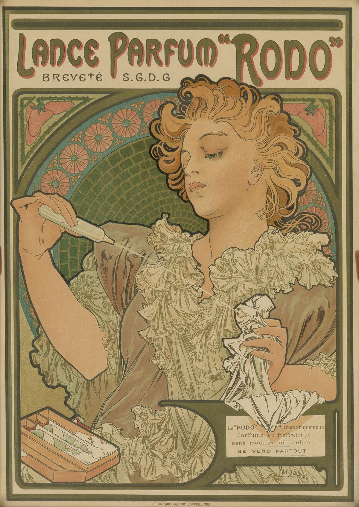 ALPHONSE-MUCHA-(1860-1939)-LANCE-PARFUM-RODO-1896-17x12-inch
