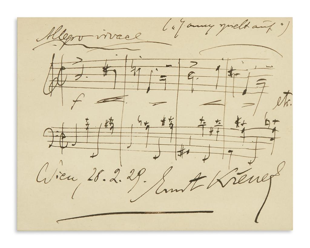 KRENEK-ERNST-Autograph-Musical-Quotation-dated-Signed-4-bars