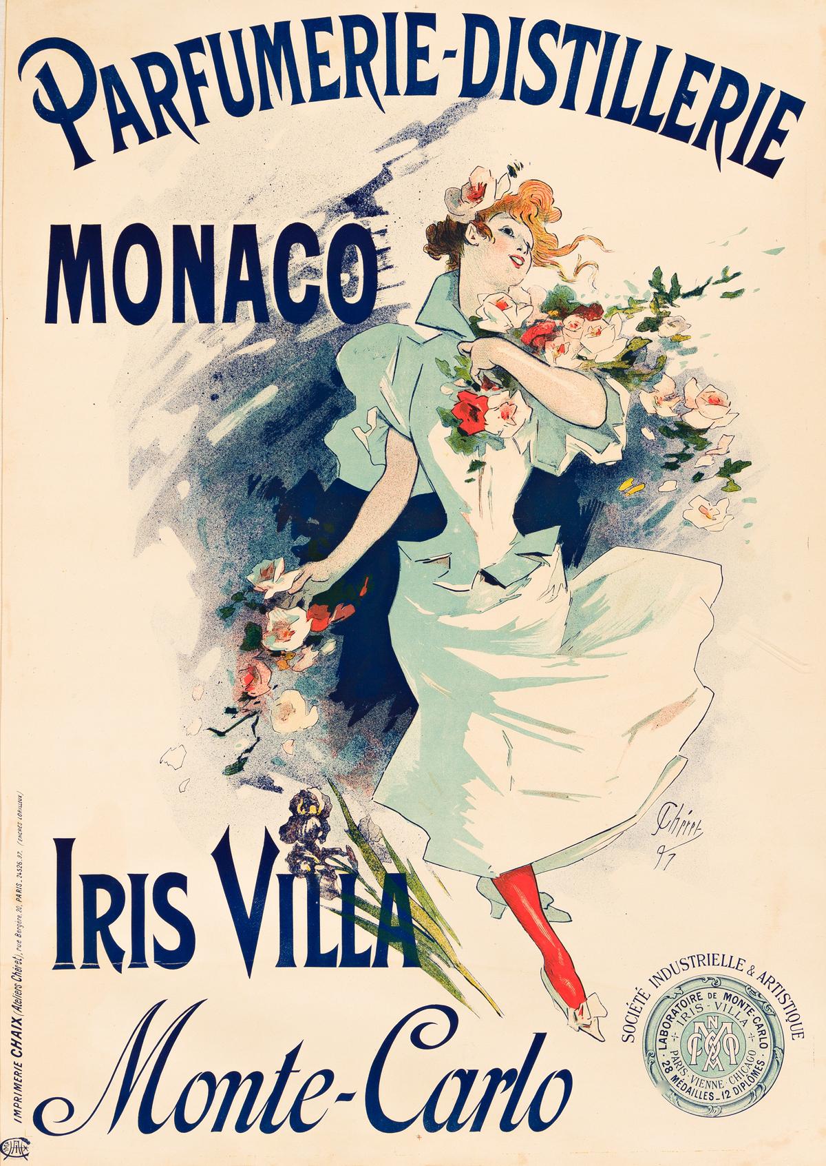 JULES CHÉRET (1836-1932).  PARFUMERIE - DISTILLERIE MONACO / MONTE - CARLO. 1897. 48x34 inches, 122x86 cm. Chaix, Paris.