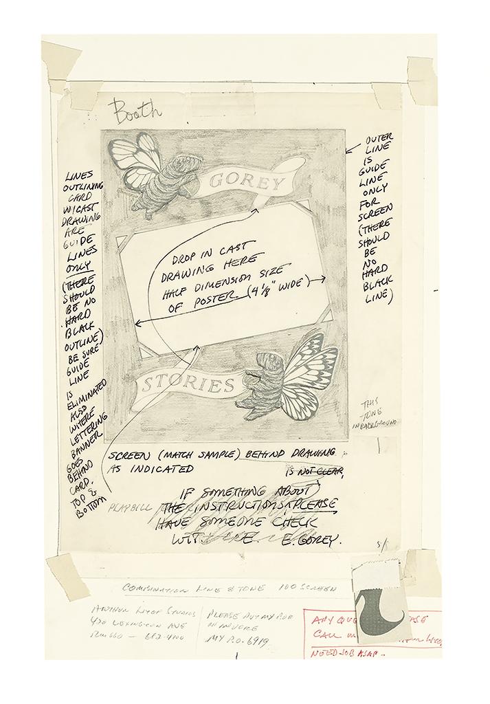 EDWARD GOREY. Gorey Stories, Playbill cover sketch mock-up.