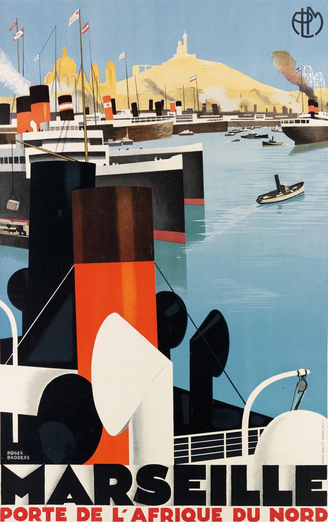 ROGER BRODERS (1883-1953). MARSEILLE / PORTE DE LAFRIQUE DU NORD. 1929. 39x24 inches, 99x62 cm. Lucien Serre & Cie., Paris.