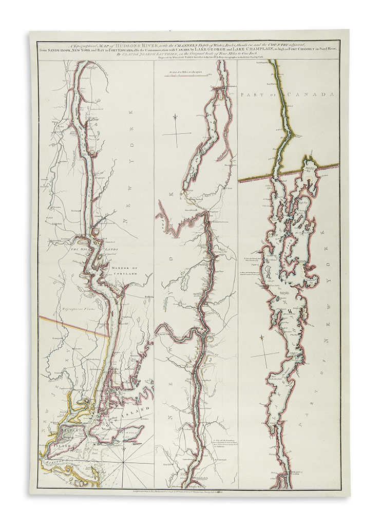 (HUSDON RIVER.) Sauthier, Claude. A Topographical Map of Hudsons River,