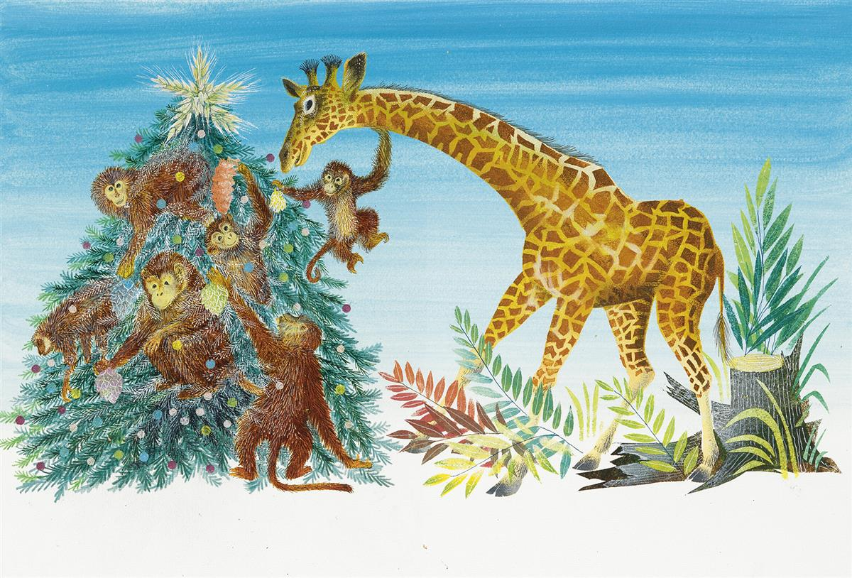 LEONARD WEISGARD. The monkeys put the ornaments on. And the giraffe laid, at the top, a star.