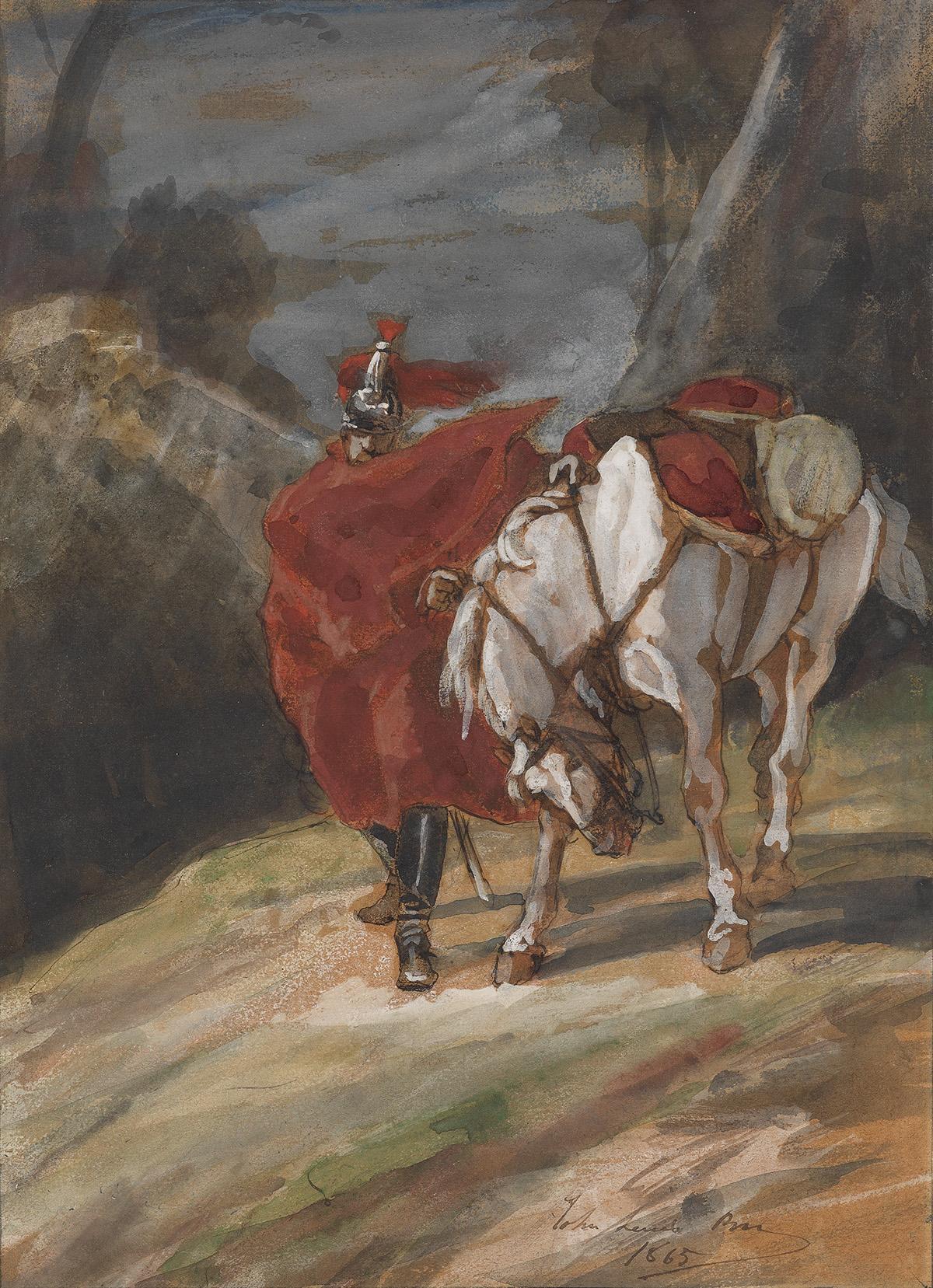 JOHN-LEWIS-BROWN-(Bordeaux-1829-1890-Paris)-A-Cavalry-Soldie