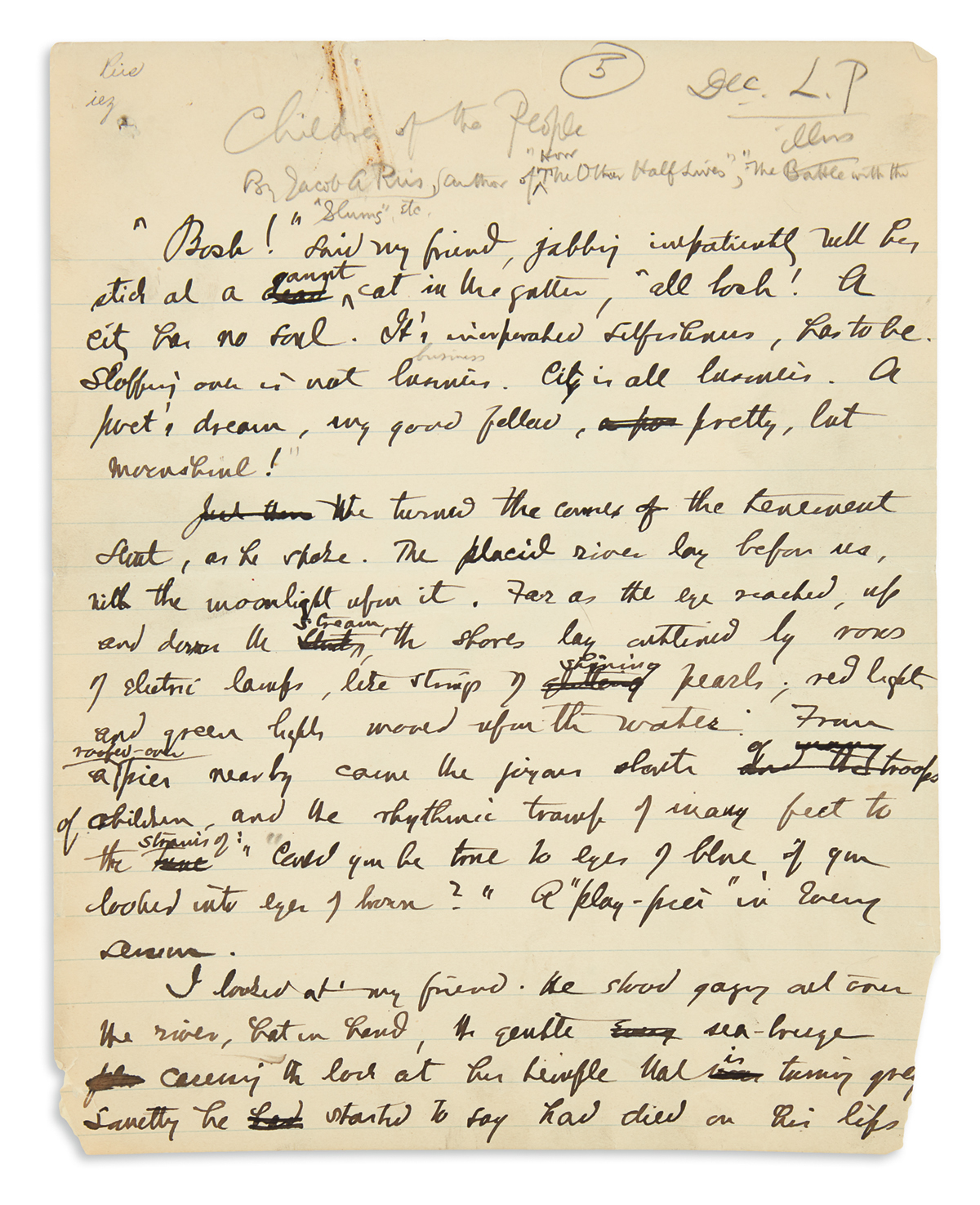 RIIS-JACOB-A-Autograph-Manuscript-Signed-in-the-byline-a-short-story-entitled-Children-of-the-People