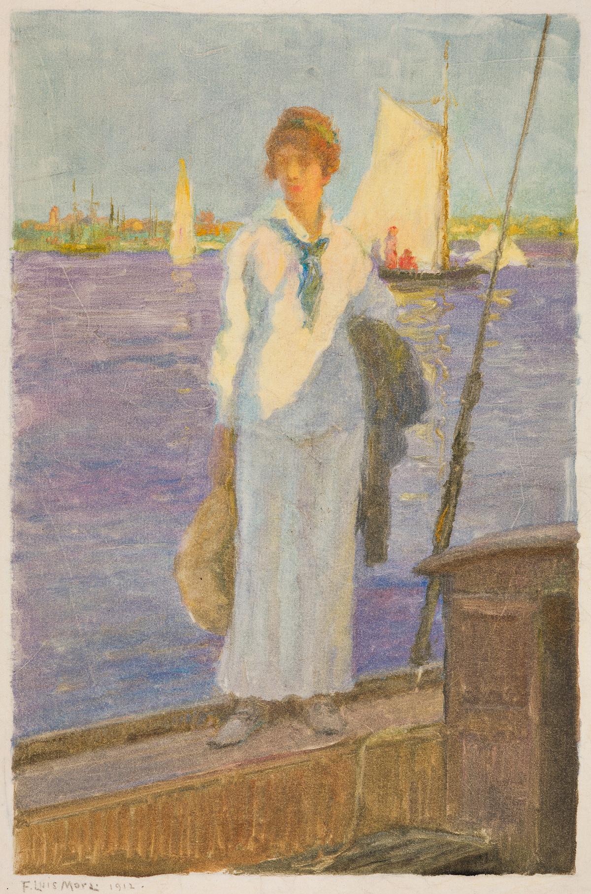 FRANCIS LUIS MORA Woman on a Sailboat at the Waters Edge.