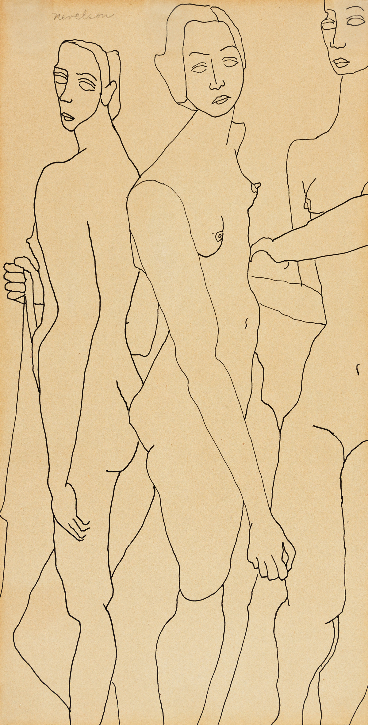 LOUISE NEVELSON Three Female Nudes.