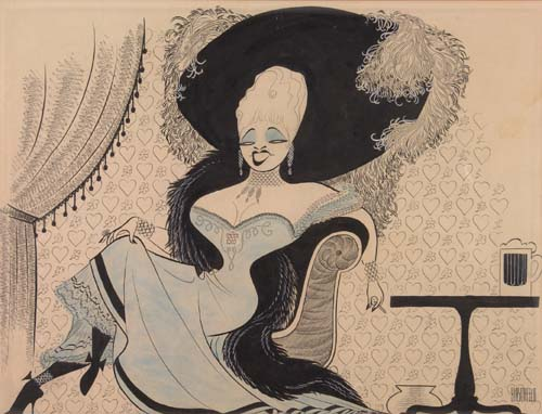 Diamond Lil - Mae West. Pen and Ink on board. 14x18 inches, oblong. Signed lower right. 1949.