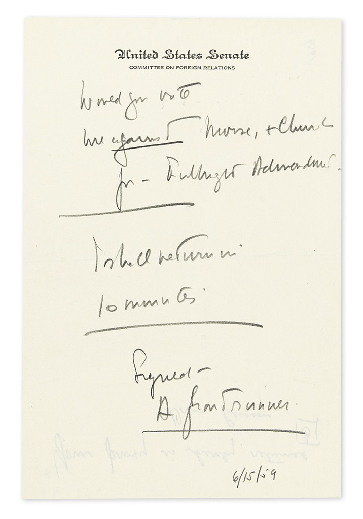 KENNEDY, JOHN F. Autograph Note Signed, A frontrunner, as Senator, to an unnamed recipient, in pencil,