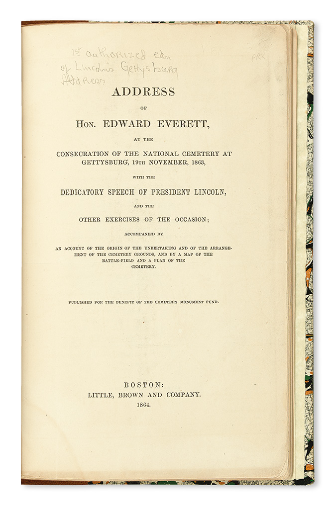 (SLAVERY AND ABOLITION.) LINCOLN, ABRAHAM. Address of Hon. Edward Everett at the Consecration of the National Cemetery at Gettysburg; 9