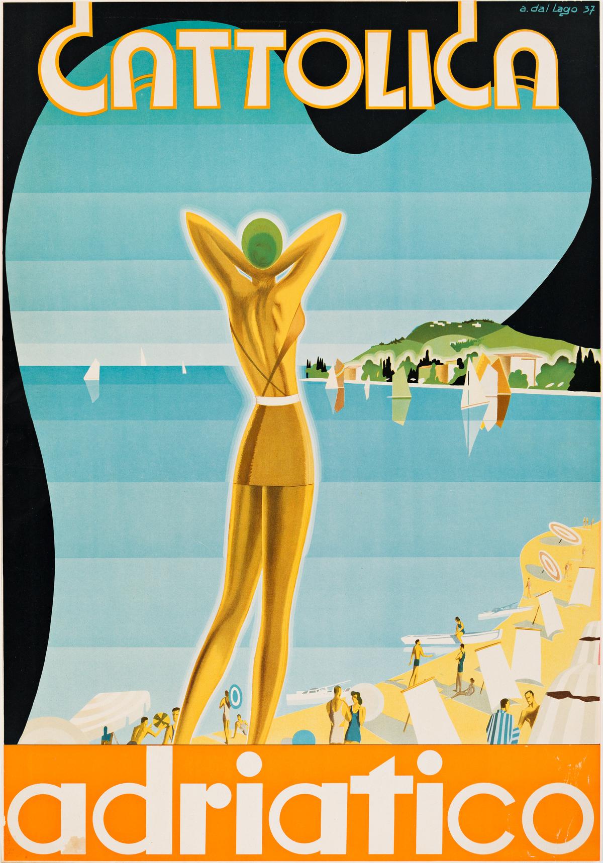 ACHILLE DAL LAGO (1910-1981).  CATTOLICA / ADRIATICO. 1937. 32¾x22¾ inches, 83x57¾ cm. [Longo & Zoppelli, Treviso.]