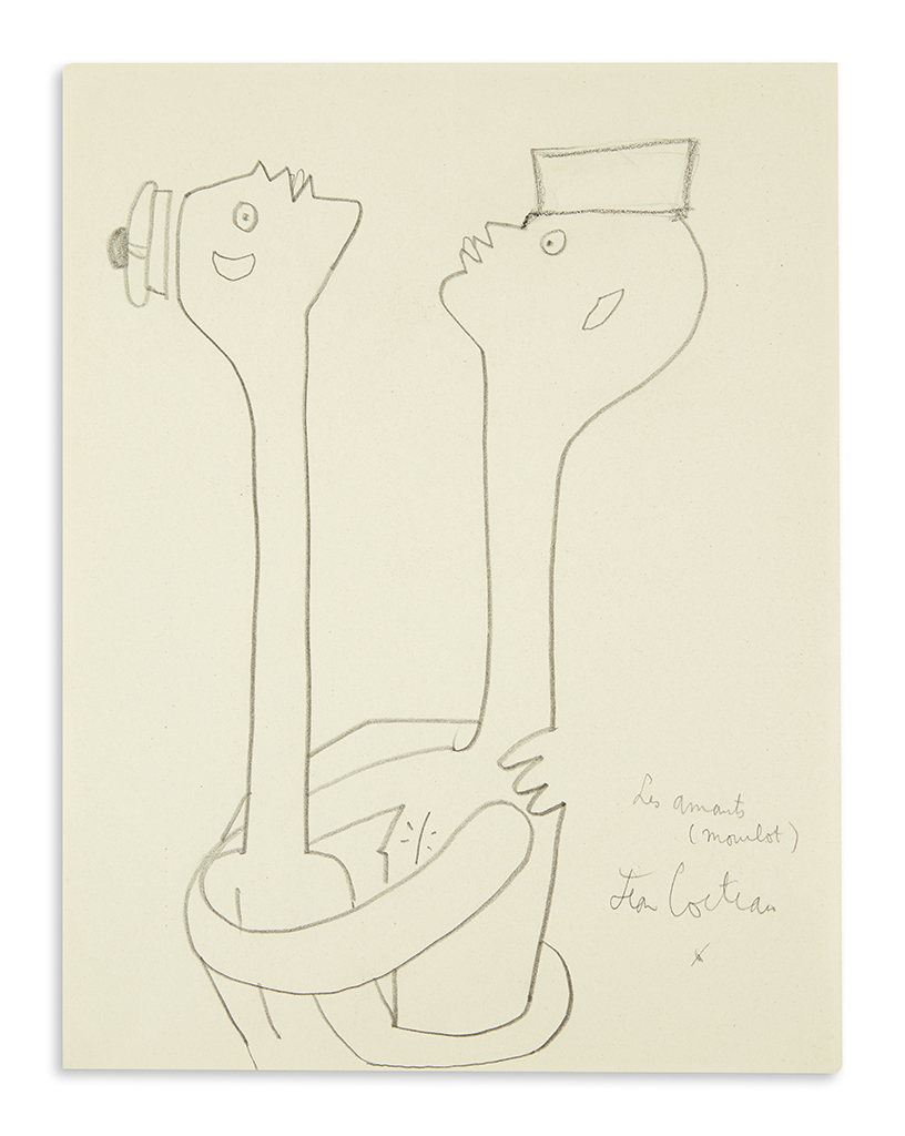COCTEAU, JEAN. Graphite drawing, Signed and with holograph title, Les Amants / (Mourlot) / Jean Cocteau / [asterisk], in pencil, show