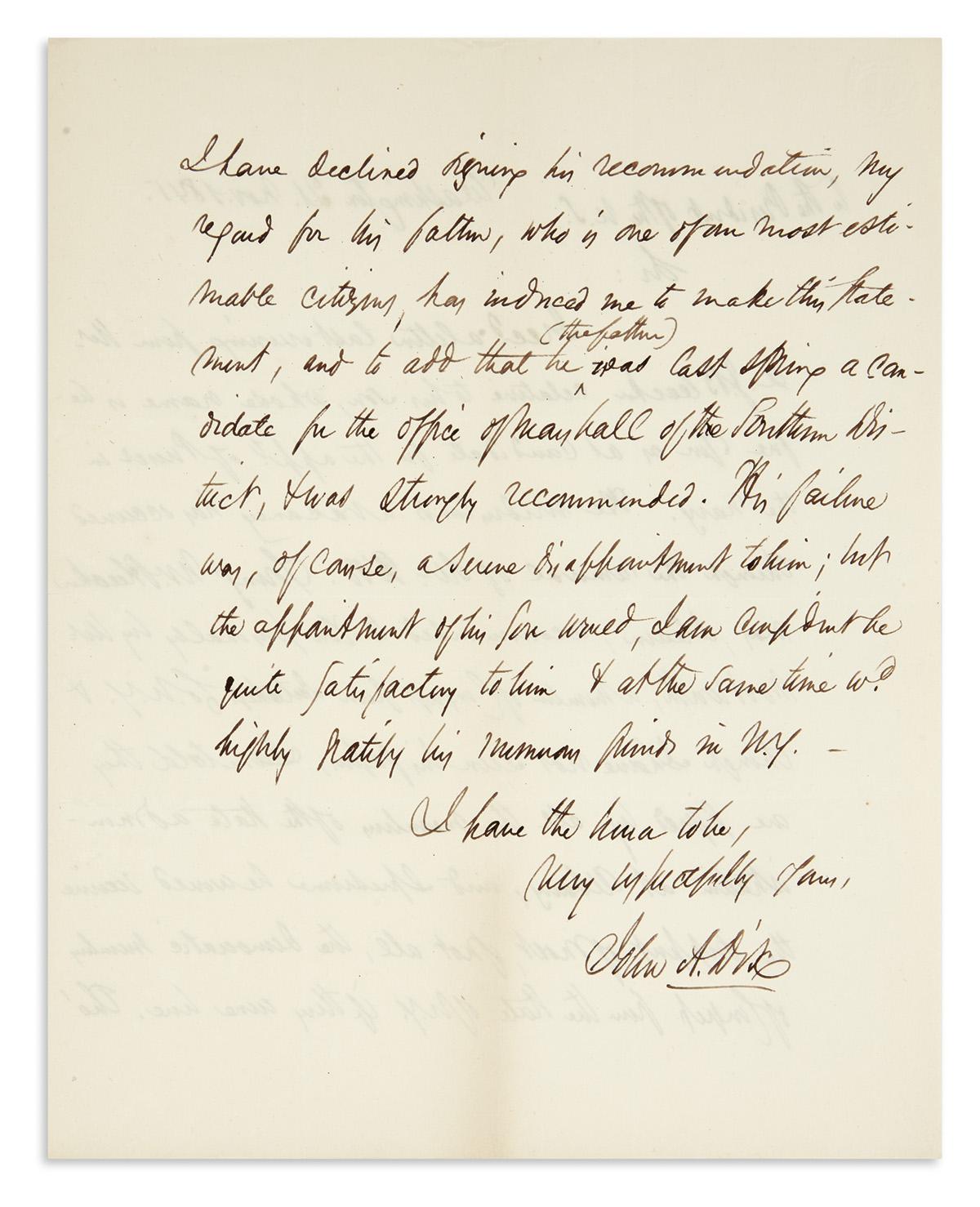 DIX-JOHN-A-Autograph-Letter-Signed-as-Senator-to-President-J