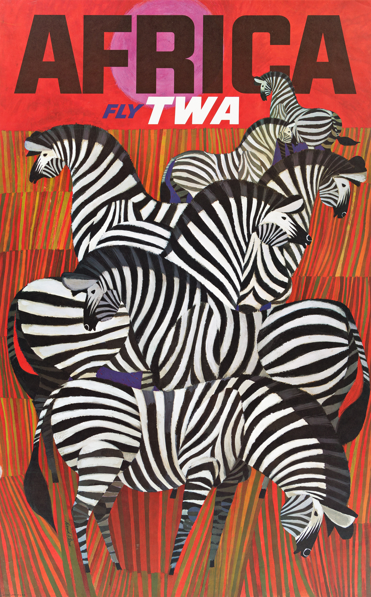 DAVID KLEIN (1918-2005).  FLY TWA. Group of 8 posters. Circa 1960s. Each approximately 39½x24½ inches, 100¼x62¼ cm.