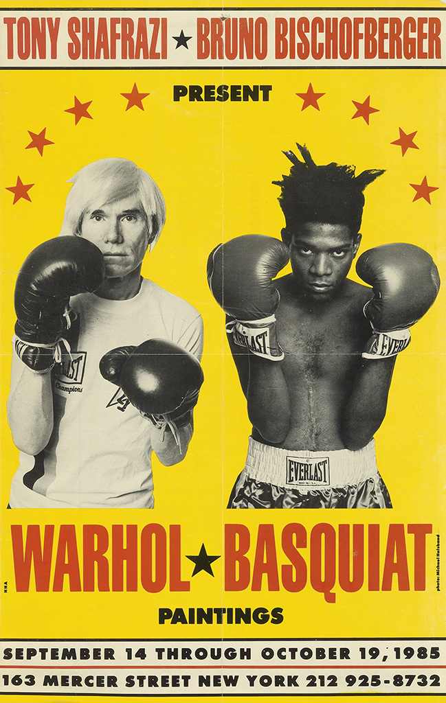 PHOTO BY MICHAEL HALSBAND (1956- ). WARHOL BASQUIAT * PAINTINGS. 1985. 19x12 inches, 48x30 cm.