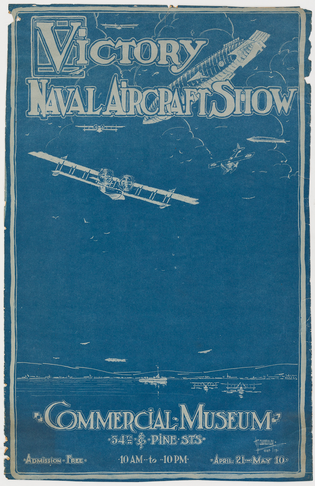 HT-CUBBERLEY-(DATES-UNKNOWN)-VICTORY-NAVAL-AVIATION-SHOW--COMMERCIAL-MUSEUM-1919-23x15-inches-59x38-cm