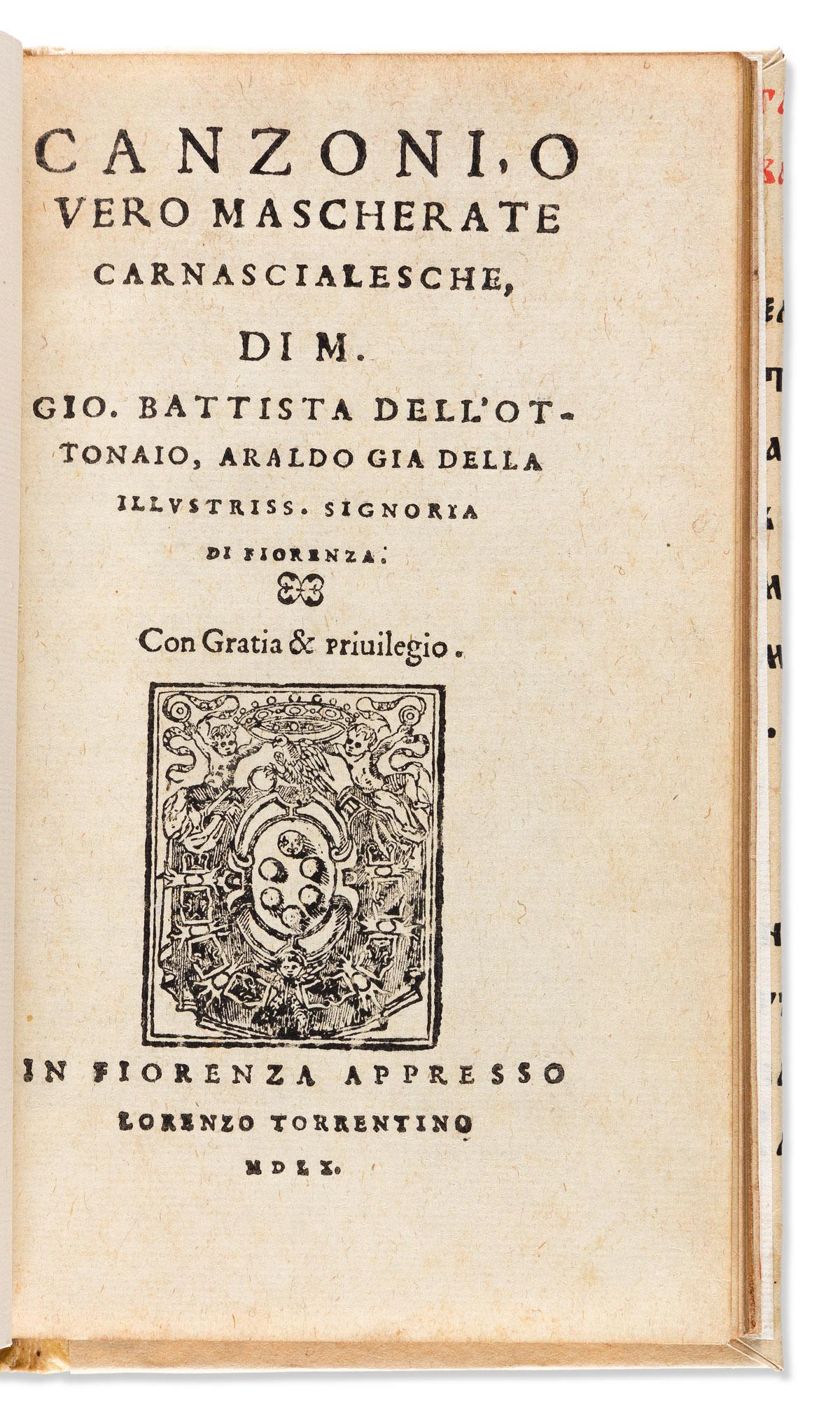 DellOttonaio, Giovanni Battista (1482-1527) Canzoni, o Vero Mascherate Carnascialesche.