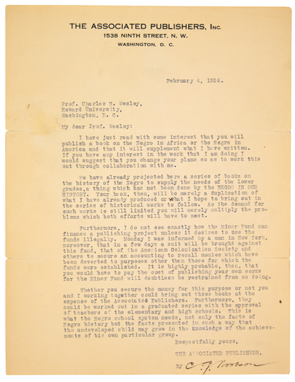 WOODSON, CARTER G. Over 100 Typed Letters Signed to Charles H. Wesley, including Wesleys retained copies of his replies.