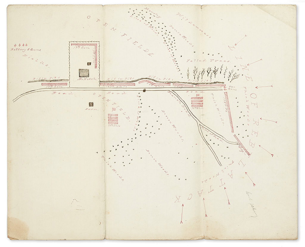 (CIVIL WAR.) Brigadier General Nathaniel McLeans report, map, and casualty report from the Battle of Chancellorsville.