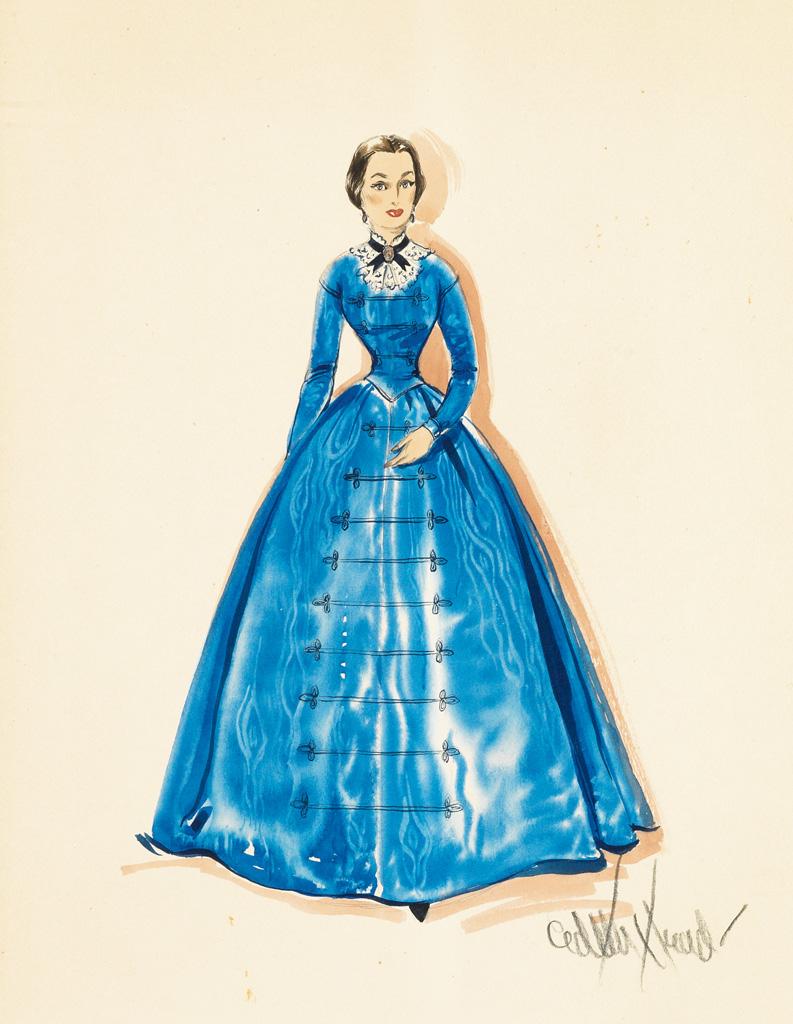 EDITH HEAD. Costume design for Olivia de Havilland as Catherine Sloper in The Heiress. Blue satin gown.
