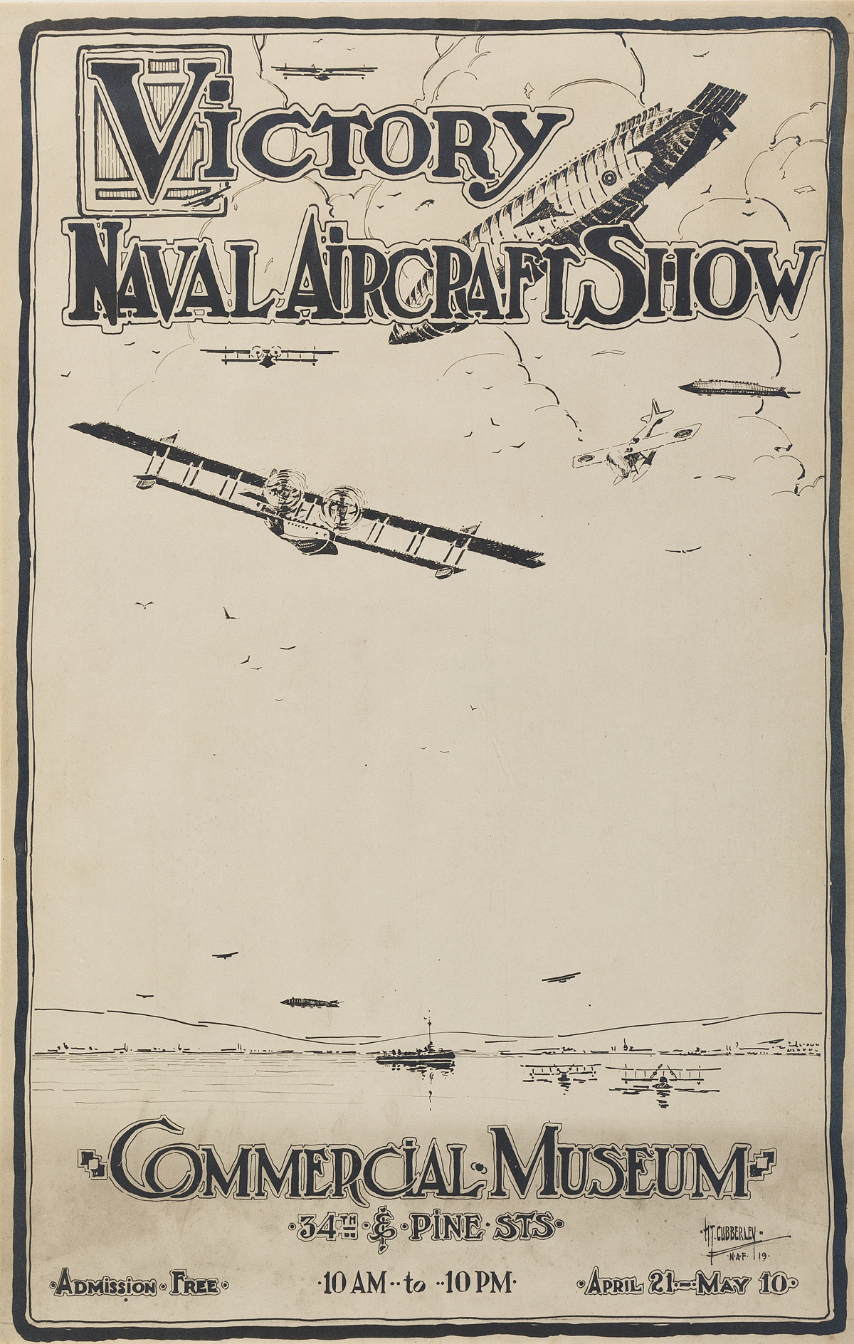HT-CUBBERLEY-(DATES-UNKNOWN)-VICTORY-NAVAL-AVIATION-SHOW--COMMERCIAL-MUSEUM-Small-format-poster-1919-17x11-inches-45x28-cm