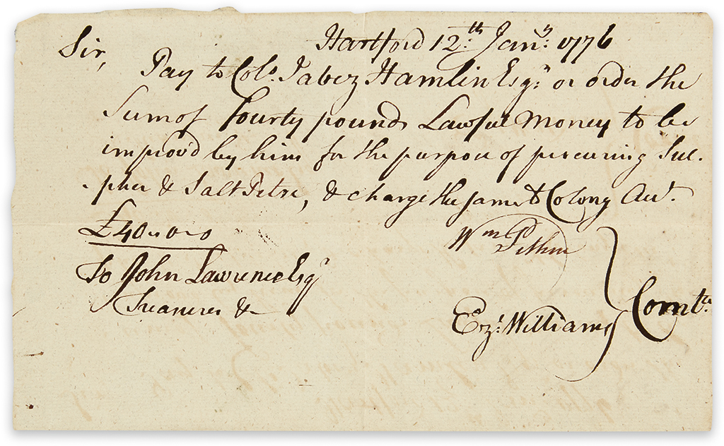 (AMERICAN REVOLUTION.) Large group of documents relating to Connecticuts role in the war.