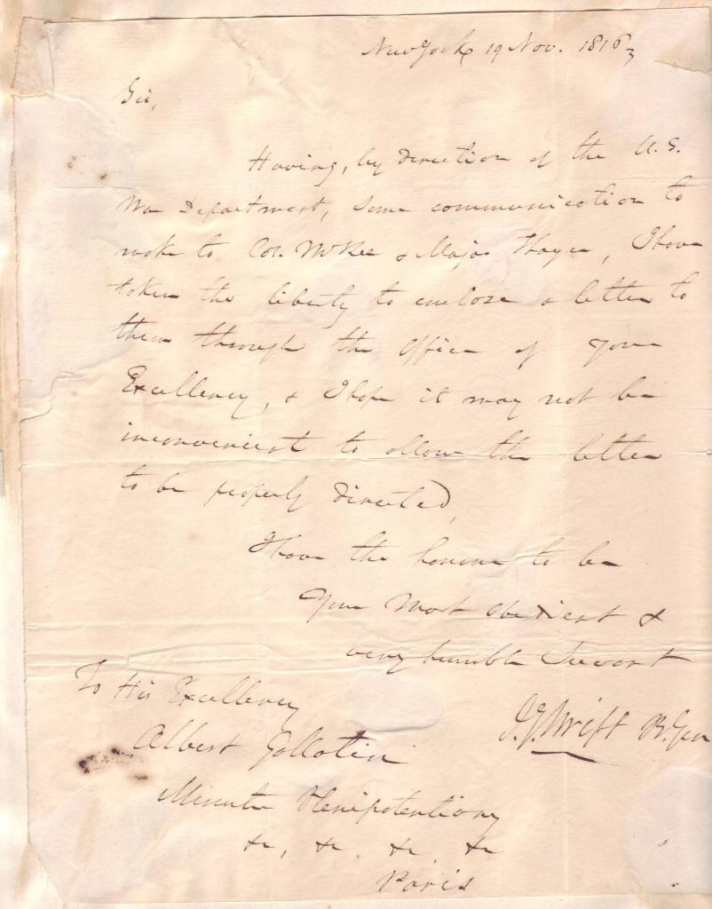 SWIFT, JOSEPH GARDNER. Autograph Letter Signed, J.G. Swift B. Gen, to U.S. Minister to France Albert Gallatin,