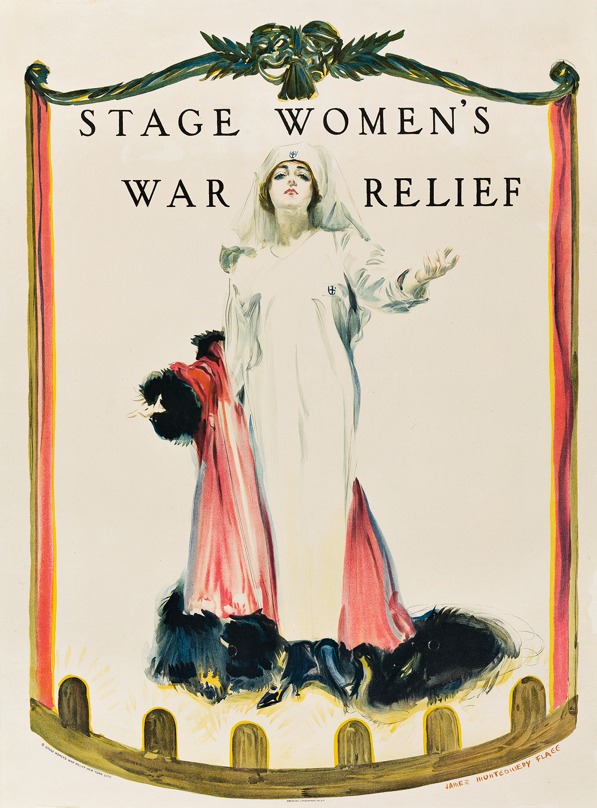 JAMES-MONTGOMERY-FLAGG-(1870-1960)-STAGE-WOMENS-WAR-RELIEF-1918-29x21-inches-74x55-cm-American-Lithographic-Co-New-York