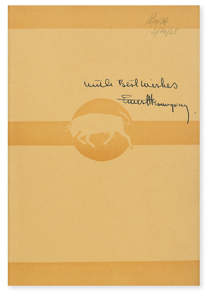 HEMINGWAY, ERNEST. Men Without Women. Signed and Inscribed, With Best Wishes, on the front free endpaper.