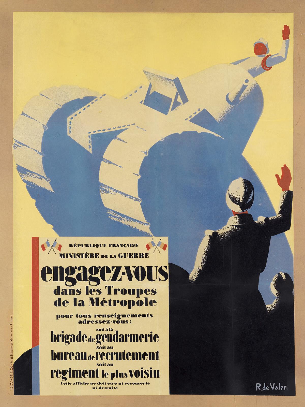 ROGER DE VALERIO (1896-1951). ENGAGEZ - VOUS DANS LES TROUPES DE LA MÉTROPOLE. 1916. 31x23 inches, 79x59 cm. Devambez, Paris.