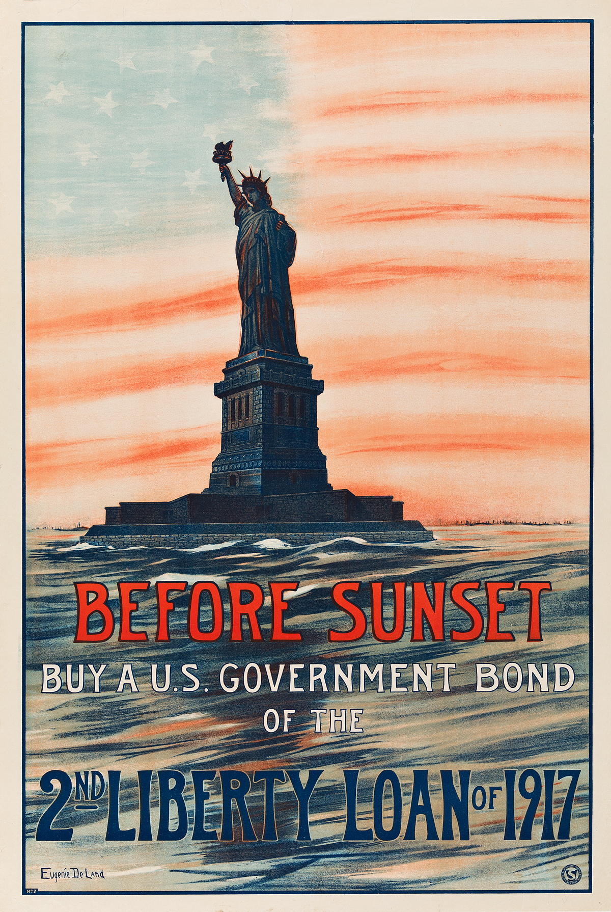 EUGENIE-DELAND-(DATES-UNKNOWN)-BEFORE-SUNSET--BUY-A-US-GOVERNMENT-BOND-OF-THE-2ND-LIBERTY-LOAN-OF-1917-1917-29x19-inches-75x50-c