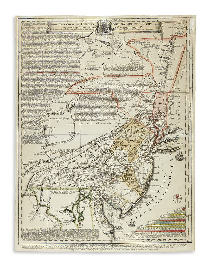 EVANS, LEWIS. Speciel Land Charte von Pensilvanien, Neu Jersey, Neu York.