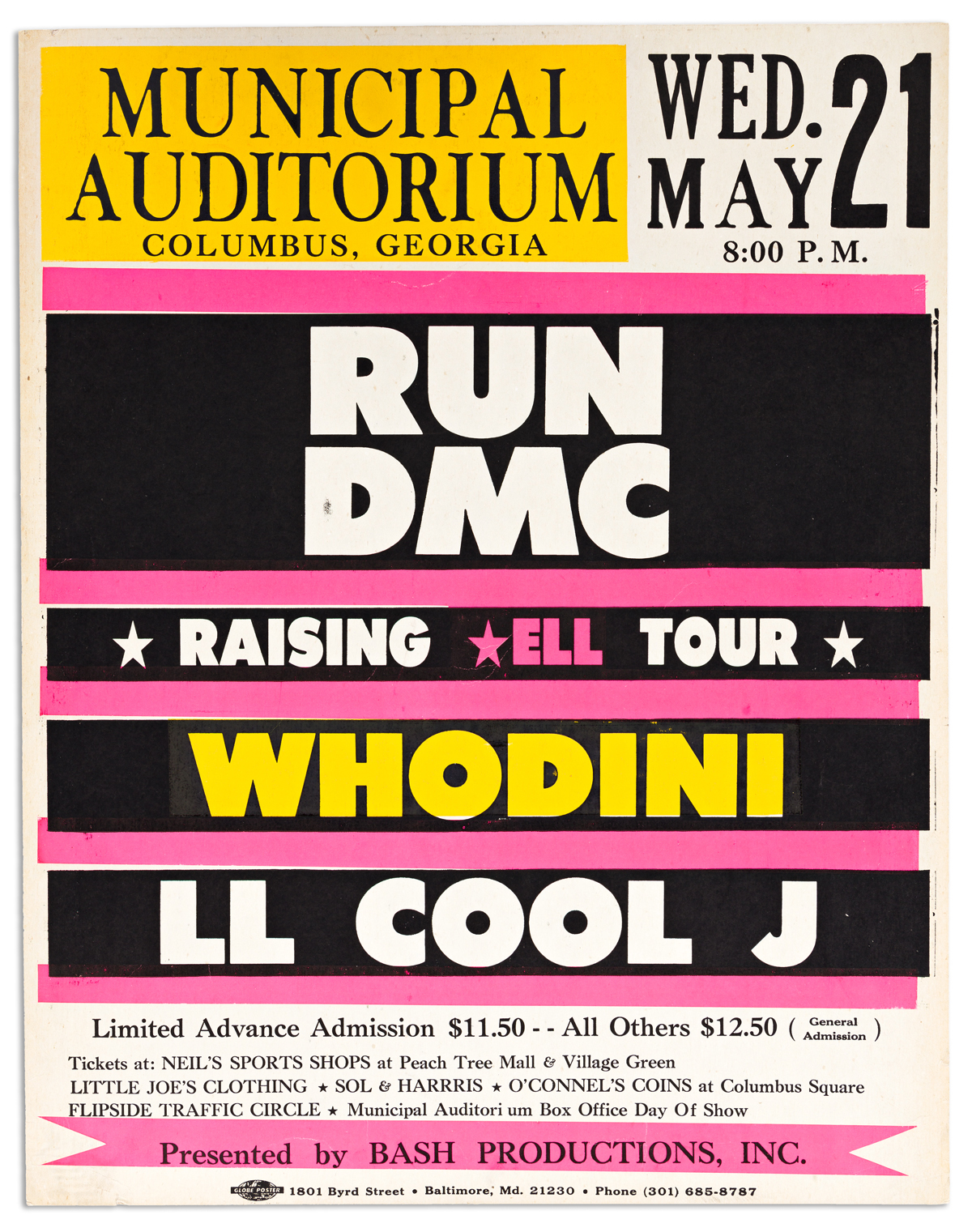 (MUSIC--HIP HOP.) Poster for opening night of Run DMCs Raising Hell tour.