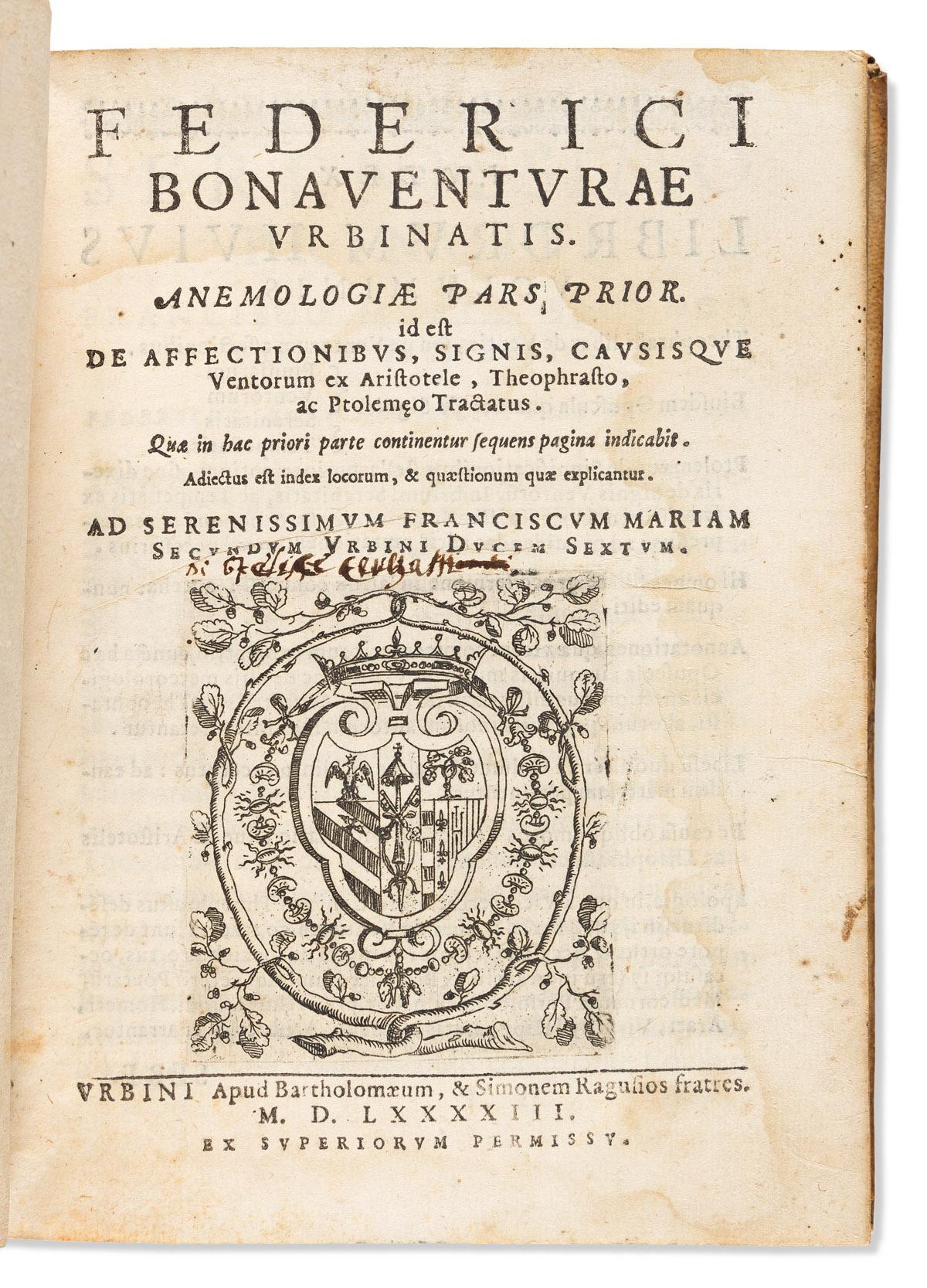 Buonaventura, Federico (1555-1602) Anemologiae Pars Prior. Id est Affectionibus, Signis, Cavsisque Ventorum ex Aristotle, Theophrasto,