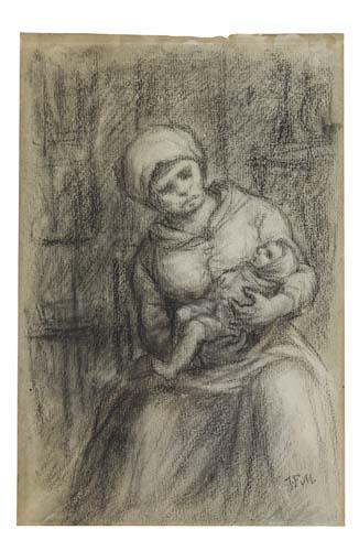 JEAN-FRANÇOIS MILLET Mère et enfant.
