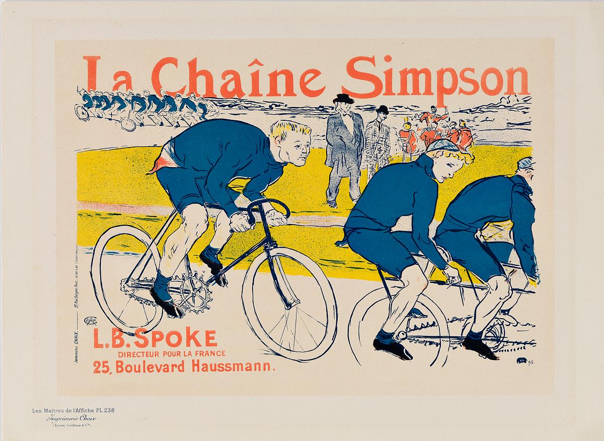 HENRI DE TOULOUSE-LAUTREC (1864-1901). LA CHAÎNE SIMPSON. Maîtres de lAffiche pl. 238. 1900. 11x15 inches, 28x40 cm. Chaix, Paris.