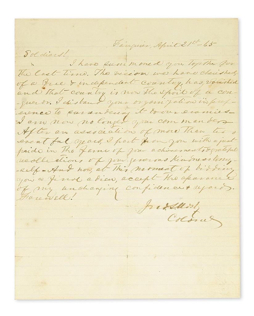 (CIVIL-WAR)-MOSBY-JOHN-SINGLETON-Autograph-Letter-Signed-Jno