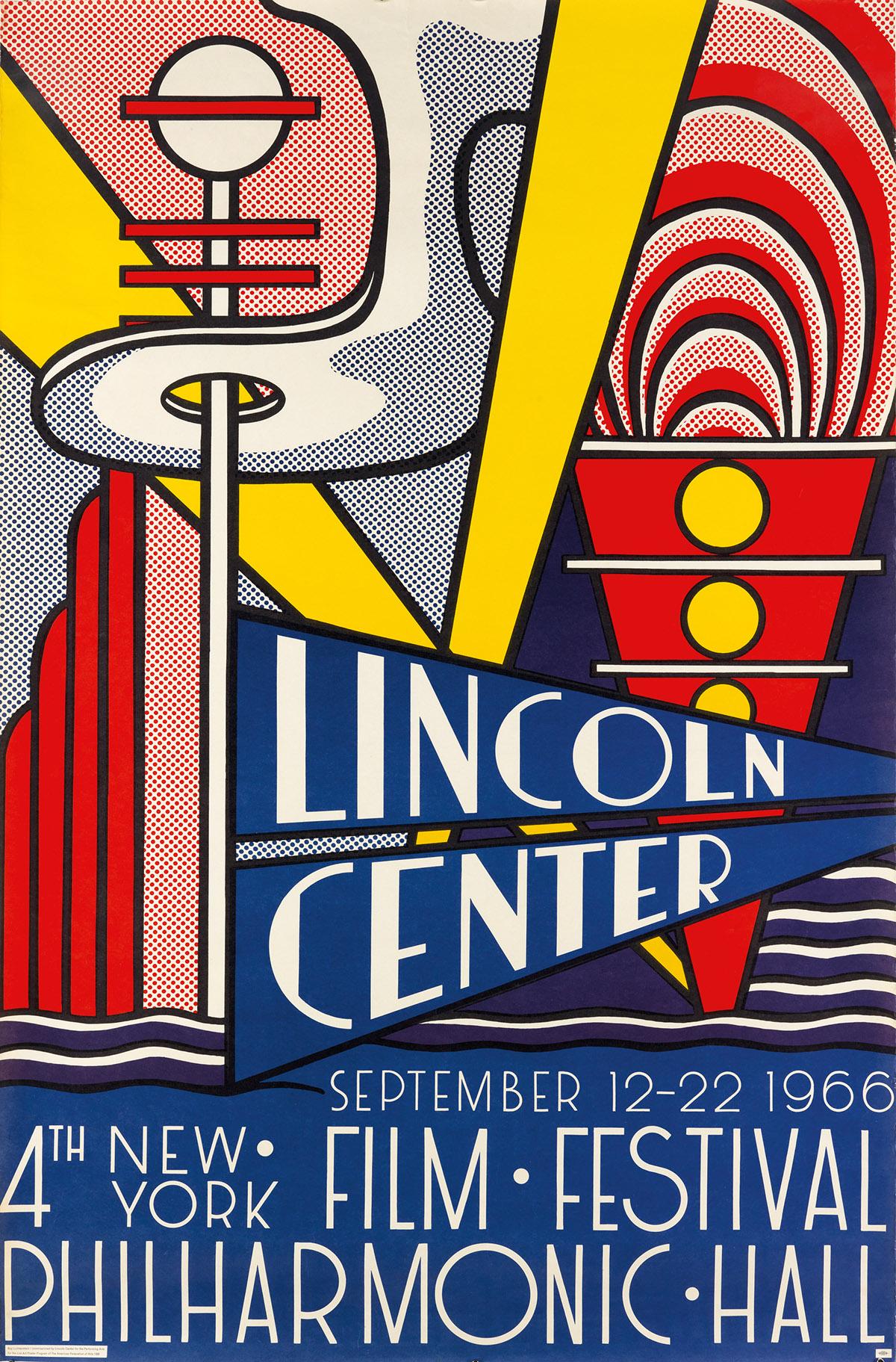 ROY LICHTENSTEIN (1923-1997). LINCOLN CENTER / 4TH NEW YORK FILM FESTIVAL. 1966. 45x29 inches, 114x75 cm. Union, New York.